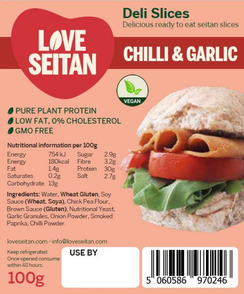 Chilli & Garlic Seitan Deli Slices